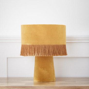 Cyrillus - Lampe en velours jaune ocre, style vintage, 99,90 €