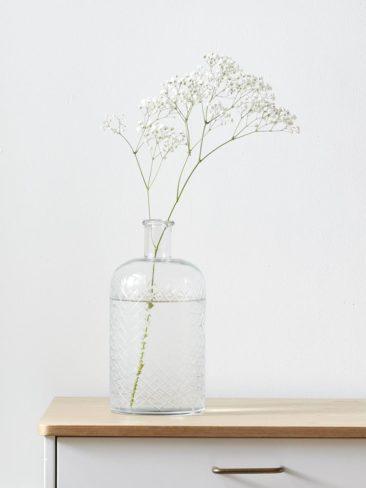 Cyrillus - Vase strié en verre, en forme de bouteille, 39,90 €