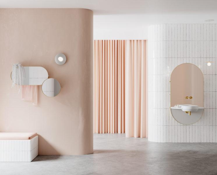 Collection de meubles de salle de bain minimalistes, Arco, éditée par Ex.t, design studio Mut