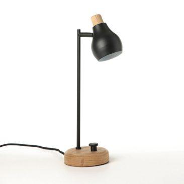 Ampm - Lampe à poser en métal et chêne, Hikaemei