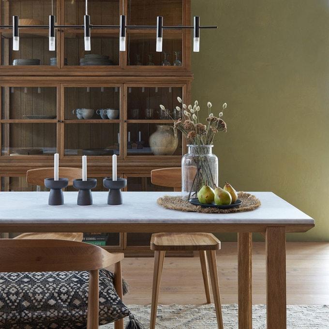 Table de repas en marbre et chêne sablé, Campania - Design E. Gallina pour Ampm - 1199 €