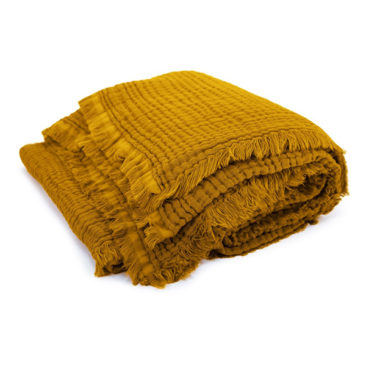 Plaid en double gaze de coton jaune moutarde - Autumn - 93 €