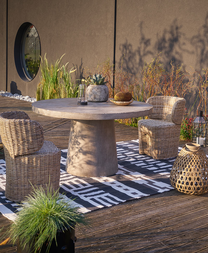 Ampm - Table de jardin en ciment gris, Argine
