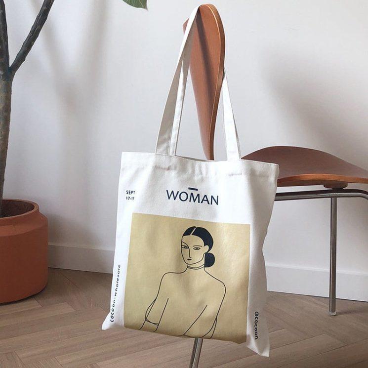Joli tote bagou sac en tissu, imprimé avec un dessin de Henri Matisse,sur la boutiqueEtsy Anaan Woman
