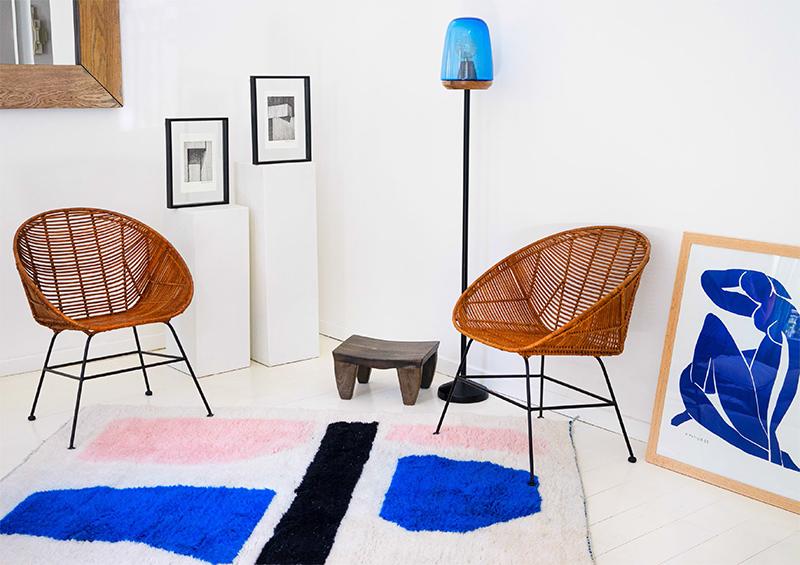 Collaboration Les Oies Sauvages et le studio Frank&Màs - Tapis sur mesure, marocain, modèle Imrane