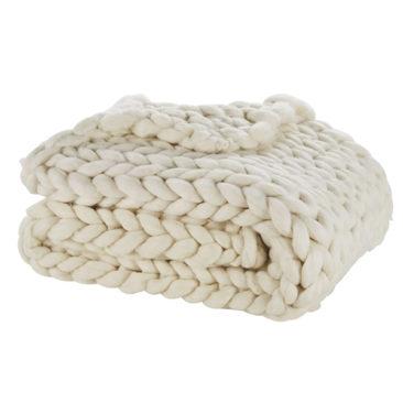 Plaid en laine, tricoté écru, Hygge - Maisons du Monde