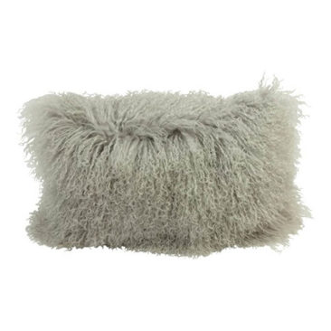 Coussin en agneau du Tibet Gris - Smallable Home - 69 €