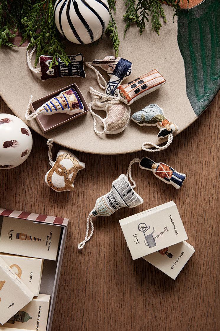 Les jolis ornements brodés de la marque Ferm Living - Catalogue de Noël 2019 Ferm Living