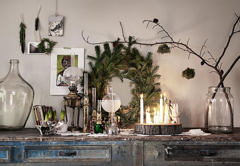 Le décor de Noël de Malin Persson, brocante, nature et bougies