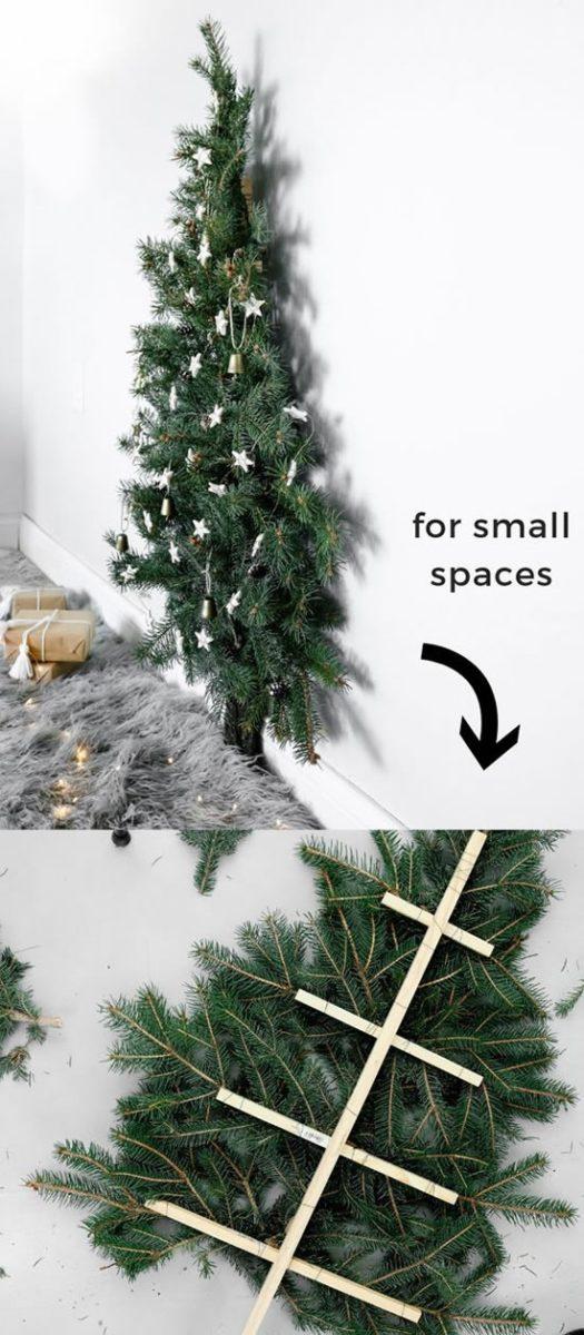 Un sapin de Noël mural à réaliser avec de vraies branches de sapin