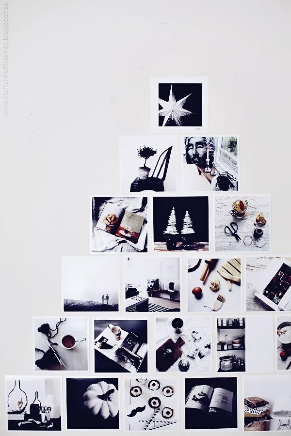 Un sapin de Noël mural, vraiment original, réalisé avec des photos en noir et blanc