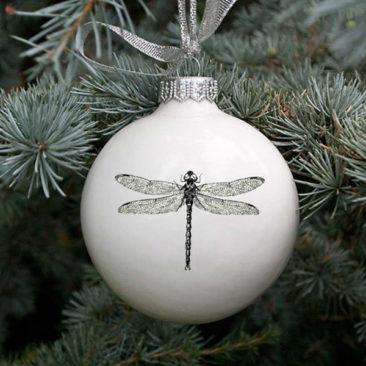 Boule de Noël en céramique, Libellule - Boutique Etsy Kina Ceramics