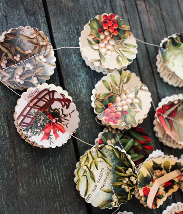 Guirlande de Noël en papier- Boutique La Mia Casa sur Etsy