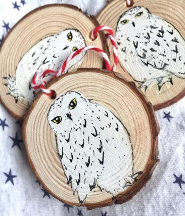Ornements de Noël, chouette Harfang des neiges - Boutique Soulbirdees sur Etsy