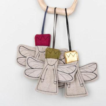 Ornements de Noël en tissu brodé, Anges - Boutique Etsy Timo Handmade