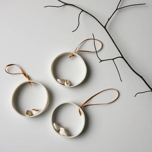 Ornement en porcelaine, Petits Oiseaux - Boutique Etsy Karo Art