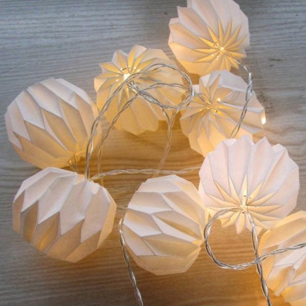 Guirlande lumineuse Led en papier, Origami - Boutique Etsy My Elume