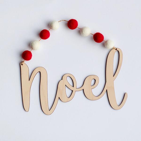 Décoration inscription Noël en bois - Boutique Etsy Sew Totally Perfect