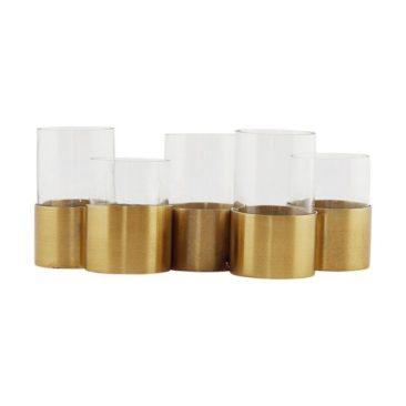Vase, bougeoir ou centre de table, en métal doré et en verre - House Doctor