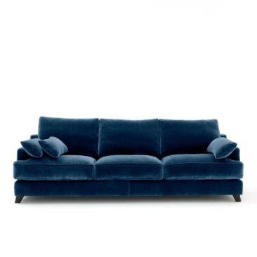 Canapé fixe en velours bleu paon, Alwine - Ampm