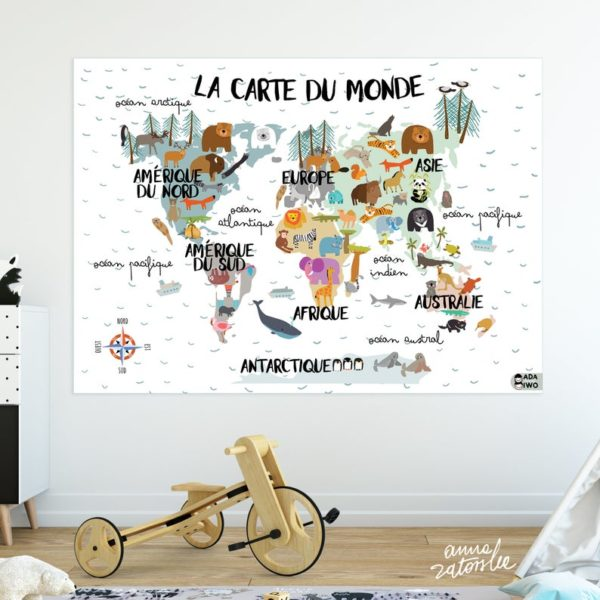 Carte du monde illustrée d'animaux - Boutique Ada and Iwo sur Etsy