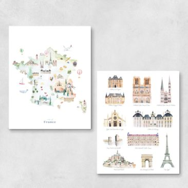 Carte de France illustrée monuments - Boutique Modvin Co sur Etsy