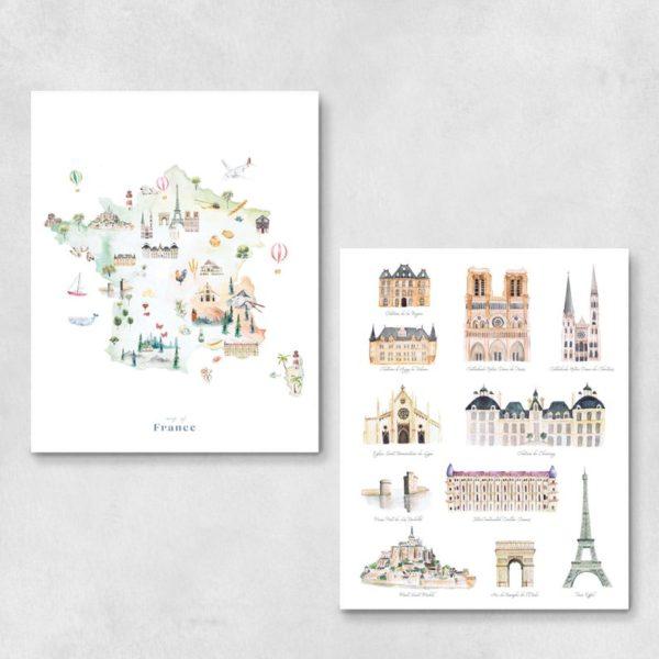 Carte de France illustrée monuments - Boutique Modvin Co sur Etsy