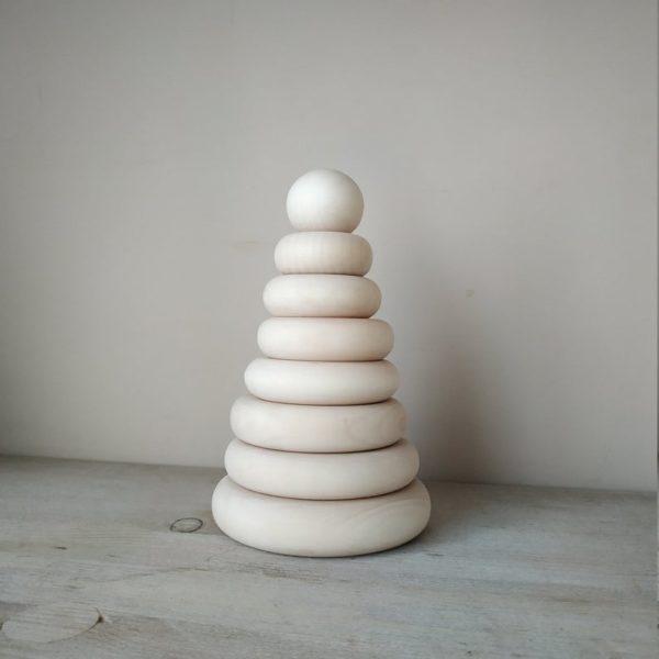 Pyramide en bois à empiler - Boutique Rostok Toys sur Etsy