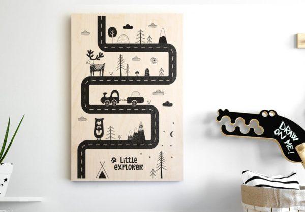 Affiche imprimée sur bois, Ours Explorateur - Boutique Visby Prints On Wood sur Etsy