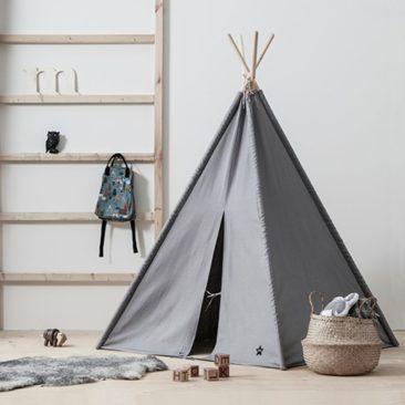 Tipi en tissu gris et bois naturel, Neo Kid's Concept
