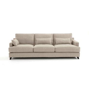 Canapé fixe en velours gris tourterelle, Alwine - Ampm