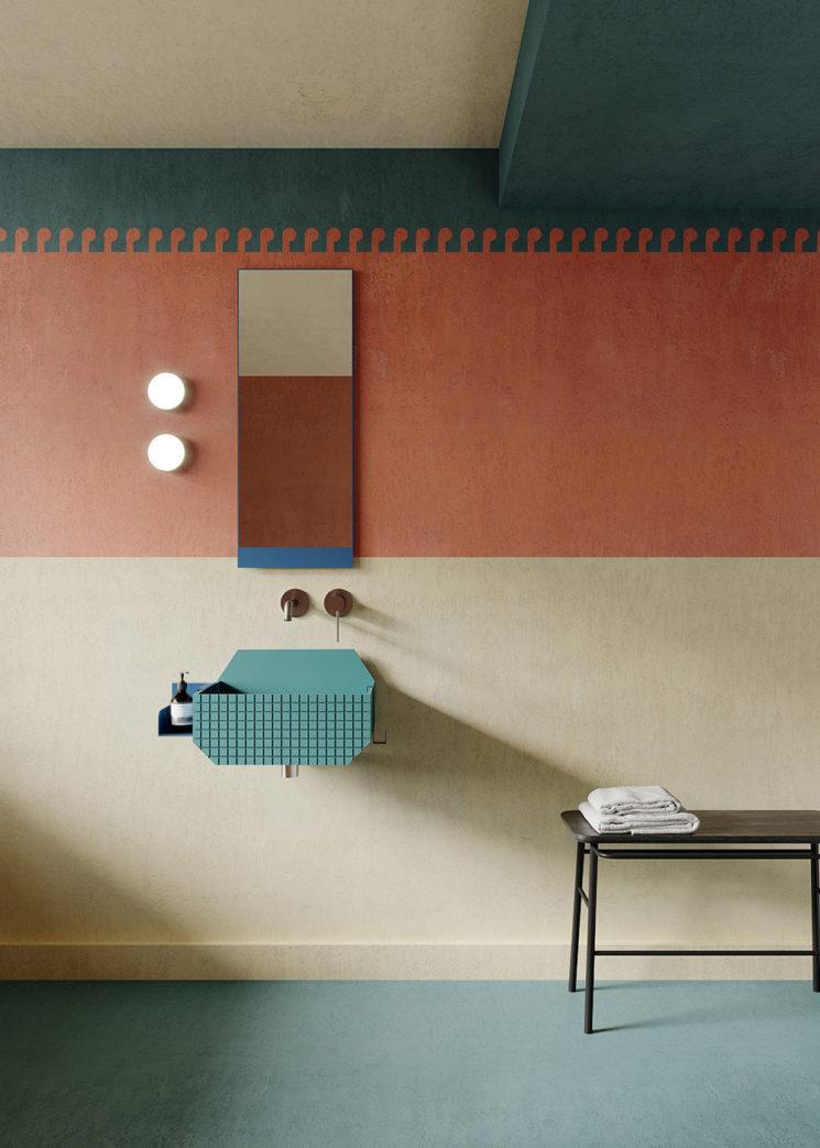 Nouvelle gamme Frieze, lavabos et éléments de décor pour salle de bain dessinée par le cabinet d'architectes Marcante-Testa pour Ex.t