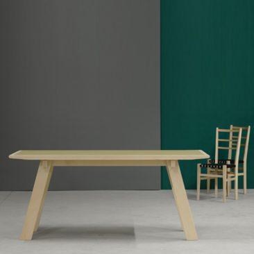 Table à manger en hêtre massif avec plateau lino - Décoclico