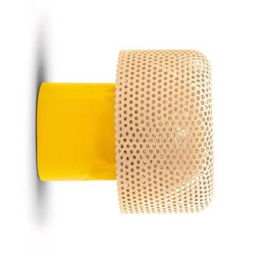 Applique en céramique et abat-jour en polyamide, Maggiolina, design : Alessandro Zambelli pour Exnovo