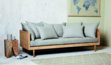 Canapé en lin gris clair, Mathis sur Maisons du Monde