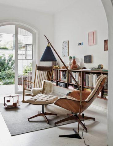 Fauteuil relax vintage - Felipe Hess, projet Casa Sampaio Vidal - Photo : Filippo Bamberghi