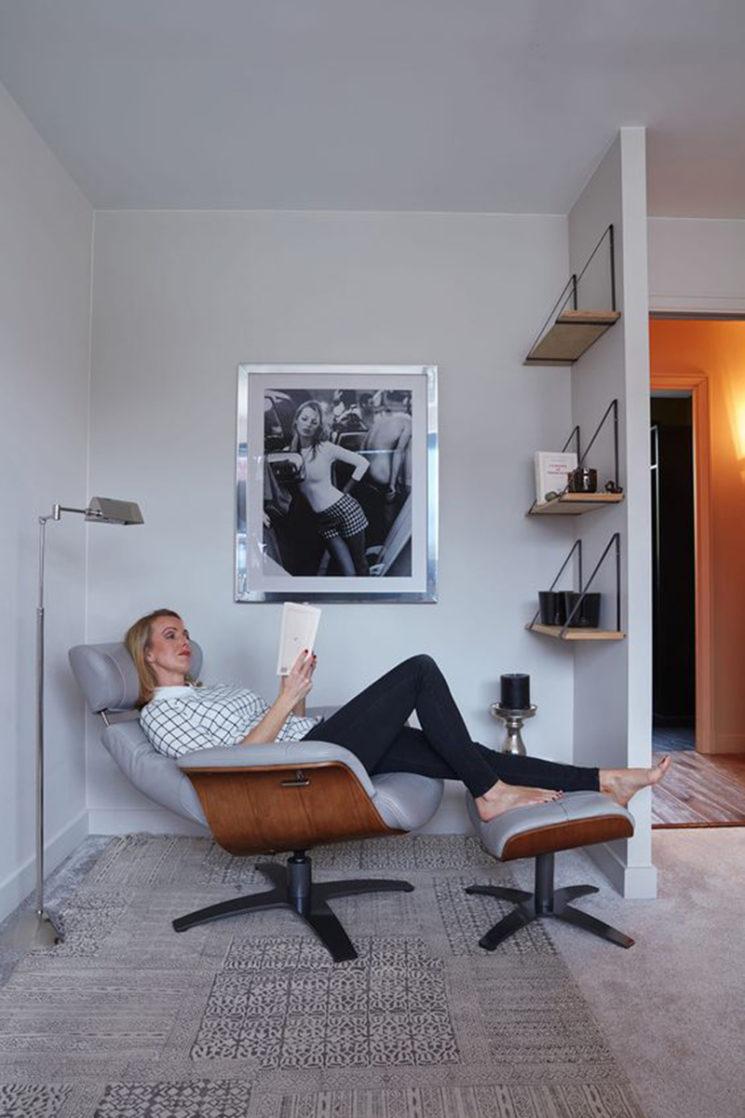 My New Design - Fauteuil relax en cuir gris et chêne VEGA