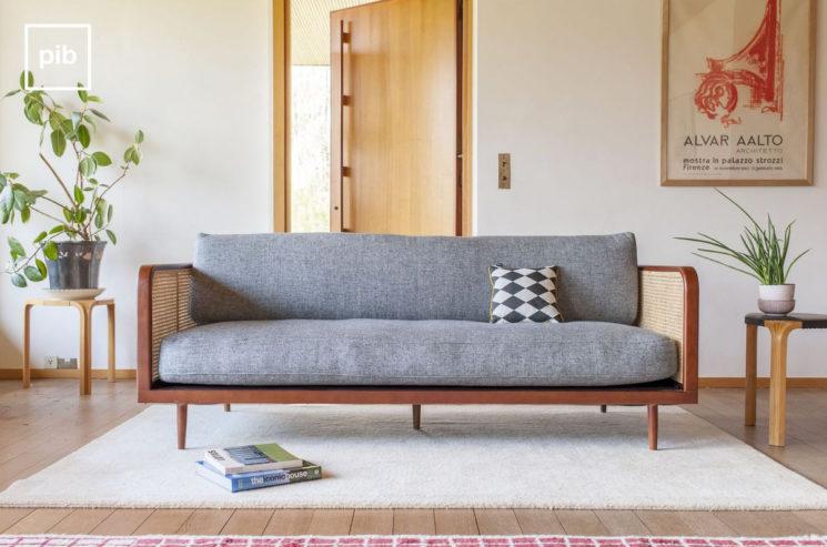 Canapé en bois et cannage, Starheim - Produit Intérieur Brut