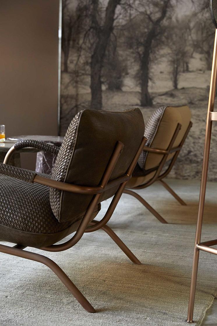 Bleu Nature collection // Sofa OZULA en cuivre brossé et assise cuir ou/et tissu