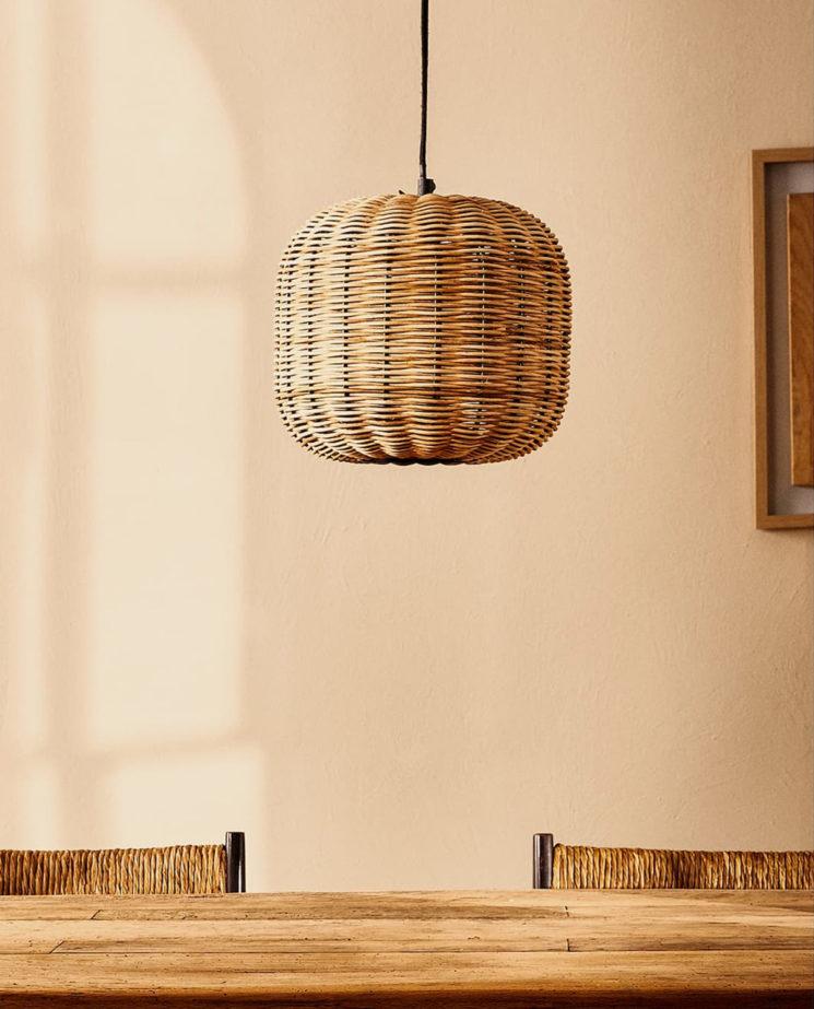 Catalogue Zara Home SS2020,// PLAFONNIER ROTIN ET MÉTAL