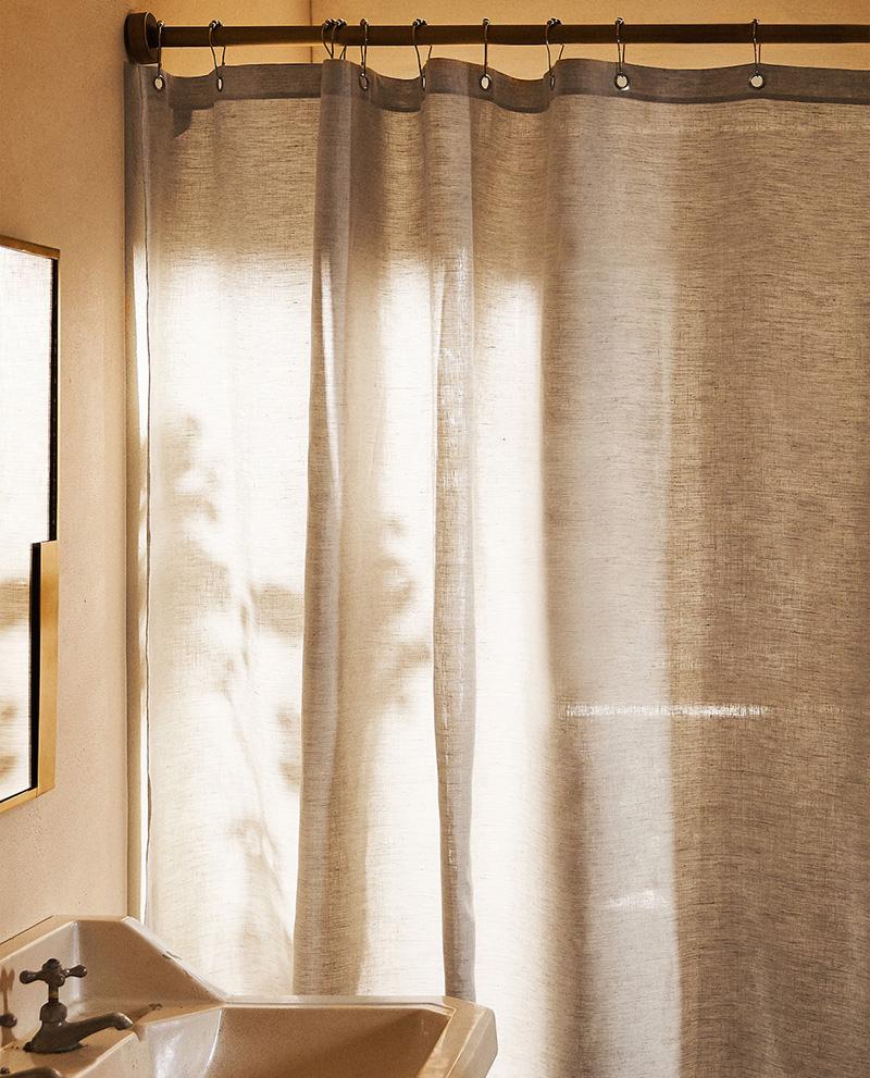 Catalogue Zara Home SS2020,// RIDEAUX DE DOUCHE EN LIN IMPERMÉABLE