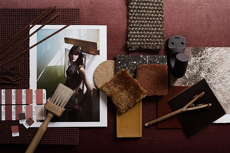 Palette de matériaux et couleurs marron, bordeaux, ocre pour le magazine Residence
