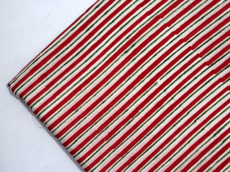 Tissu rayé, imprimé au bloc à la main, rouge et vert sur la boutique Etsy The Shibori & Tie Dye, 6,27 € la yard