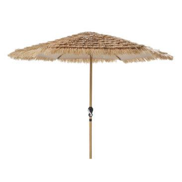 Parasol en métal imitation bois, Paillotte sur Maisons du Monde