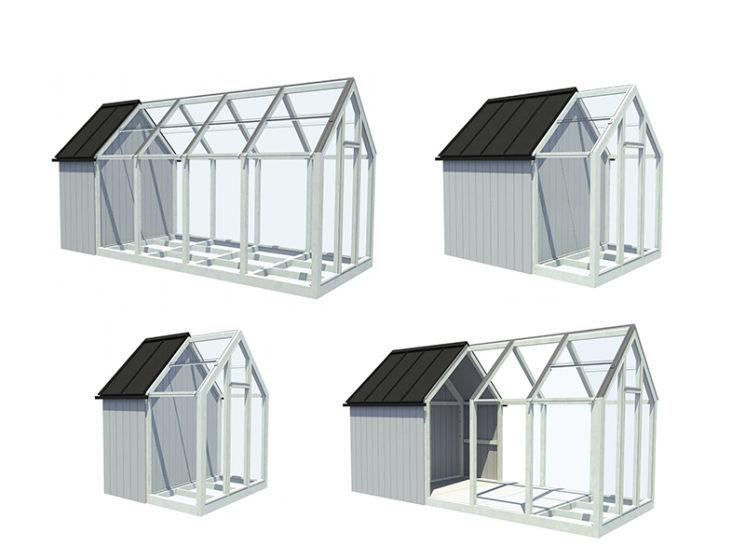 Aménager une serre comme pièce en plus au jardin // Conception : avan.to pour Jardin de Kekkilä - Une serre composée d'une partie abri de jardin