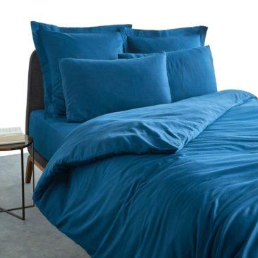 Housse de couette satin coton bleu cascade, Bermidi sur Ampm