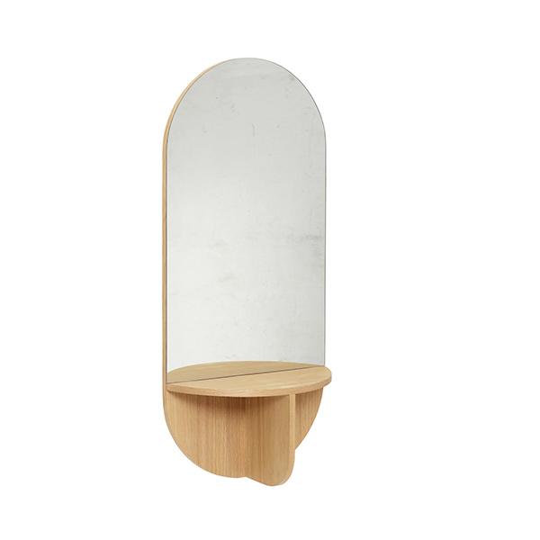 Grand miroir en chêne avec étagère Hübsch