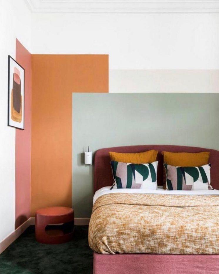 10 idées déco pour une chambre à coucher stylée // S'amuser avec la peinture en faisant des aplats de couleurs différentes