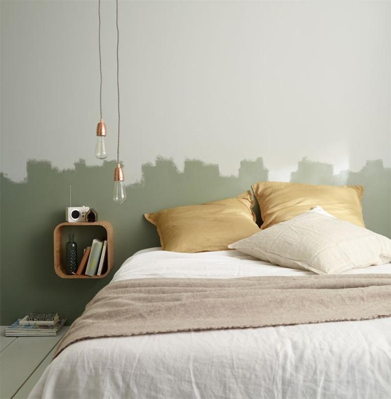 10 idées déco pour une chambre à coucher stylée // S'amuser avec la peinture pour marquer une tête de lit, orignal et pas cher