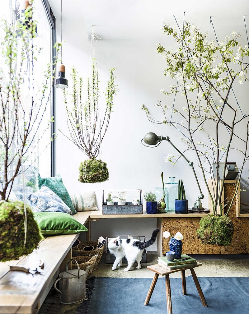Aménager un jardin d'hiver dans sa véranda // Un jardin d'hiver d'inspiration japonaise, face à une baie vitrée